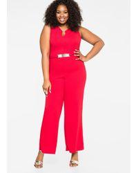 a28fe3603e6 Lyst - Ashley Stewart Gold Bar Wide Leg Jumpsuit in Red