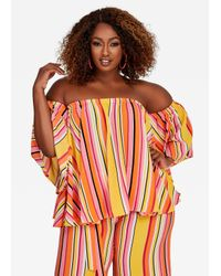 Ashley Stewart Orange Multi Striped Peasant Blouse