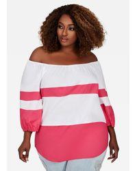 Ashley Stewart Pink Plus Size Colorblock Striped Peasant Blouse