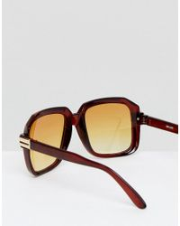 ASOS - Navigator Sunglasses In Crystal Brown With Yellow Fade Lens for Men - Lyst
