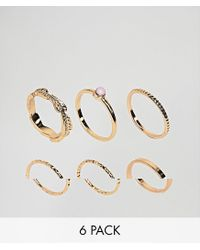 ASOS - Metallic Design Pack Of 6 Feather Band And Faux Rose Quartz Rings - Lyst
