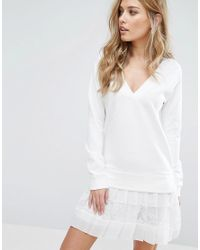 621192aeb7d French Connection Eliza Jersey Dress in White - Lyst
