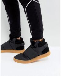 adidas Originals Leather Tubular Invader Strap Trainers In Black ...