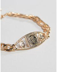 ASOS - Metallic Vintage Style Medallion Chain Bracelet In Gold Tone for Men - Lyst