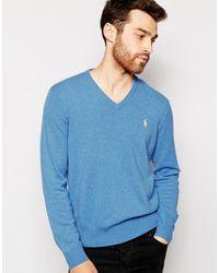 Джемпер Из Мягкой Мериносовой Шерсти С V-образным Вырезом -синий Polo Ralph Lauren для него, цвет: Blue