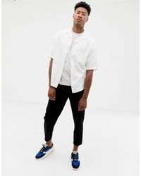 TALL - Chemise coupe carrée à rayures effet ombré ASOS pour homme en coloris White
