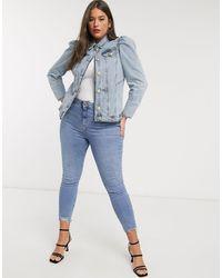 River Island Blue – Mittelblaue Jeansjacke mit Puffärmeln