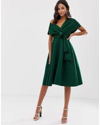 Зеленое Платье Миди Для Выпускного ASOS, цвет: Green
