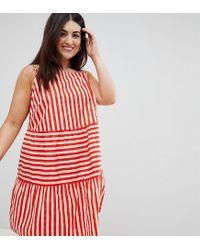 ASOS Asos Design Curve Cotton Tiered Mini Sundress In Stripe