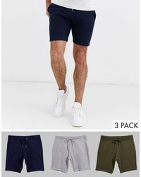 Confezione da 3 pantaloncini skinny di ASOS in Blue da Uomo