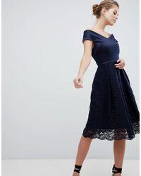 2330f7d56 Robe patineuse en dentelle encolure Bardot femme de coloris bleu