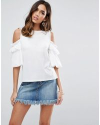 ASOS - Pink Top In Crepe With Cold Shoulder Pretty Ruffle Puff Sleeve - Lyst