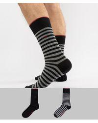 Calvin Klein Black 2 Pack Socks With Stripe for men