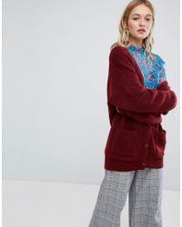 Monki | Red Longline Cardigan | Lyst