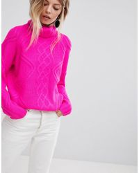 e4f8df296ff Oasis Chunky Cable Knit Roll Neck Sweater in Pink - Lyst