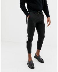 Pantaloni eleganti cropped neri con riga laterale di Burton in Black da Uomo