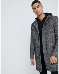 Only & Sons Gray Stand Collar Wool Overcoat for men