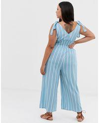 ASOS DESIGN Curve - Combinaison rayée avec épaules nouées et fronces à la taille ASOS en coloris Blue