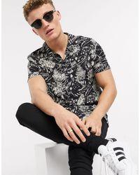 Topman Black Short Sleeve Printed Shirt for men