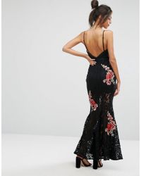 Missguided Black Peace Love Embroidered Detail Lace Maxi Dress