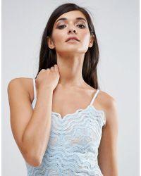 Aijek Blue Lace Wiggle Mini Dress