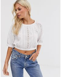 Y.A.S White Brodierie Elasticated Waist Top