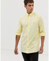 Camicia Oxford button-down slim gialla con logo di Tommy Hilfiger in Yellow da Uomo