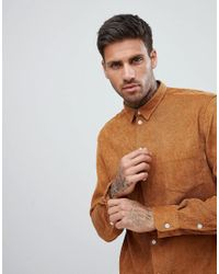 BoohooMAN Brown Corduroy Shirt for men