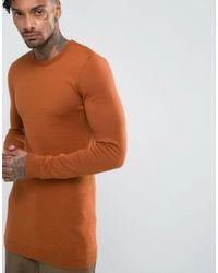 ASOS - Brown Asos Longline Muscle Fit Jumper In Dark Tan for Men - Lyst