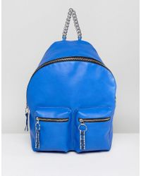 ASOS Blue Hero Slogan Webbing Backpack