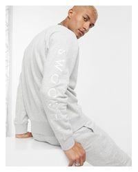 Серый Свитшот С Круглым Вырезом И Логотипом-галочкой Nike для него, цвет: Gray