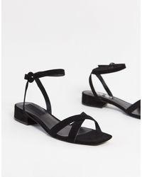 Mango Black Cross Strap Sandals