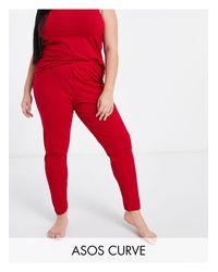 ASOS DESIGN Curve - Leggings del pigiama Mix & Match di ASOS in Red
