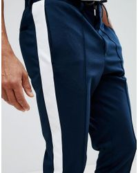 SELECTED - Blue Tapered Pants With Stripe for Men - Lyst