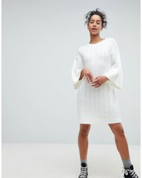 ASOS DESIGN - White Asos Chunky Cable Knitted Dress With Wide Crop Sleeves - Lyst