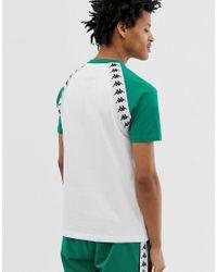 Banda Bardi - T-shirt bianca con fettuccia obliqua e logo sul petto di Kappa in White da Uomo