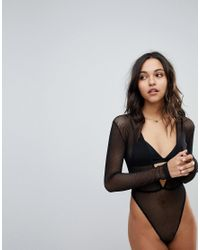 ASOS - Black Bambi Fishnet Long Sleeve High Leg Bodysuit - Lyst