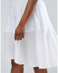 ASOS White Skater T-shirt Dress With Woven Cotton Hem Detail