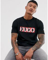 T-shirt nera con logo a spina di pesce di HUGO in Black da Uomo