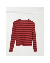 ONLY Red Long Sleeve Rib Top