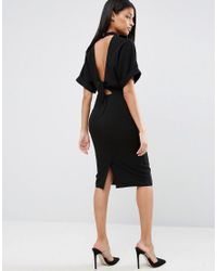 ASOS | Black High Neck Open Back Wiggle Dress | Lyst