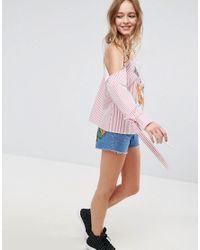 ASOS - Multicolor X Lot Stock Stripe Cold Shoulder Top With Embroidery - Lyst