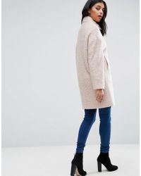 ASOS - Pink Oversized Cocoon Coat With Funnel Neck In Wool Mix And Boucle Texture - Lyst