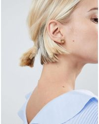 ASOS - Metallic Gold Plated Sterling Silver Brushed Square Chain Drop Earrings - Lyst
