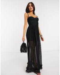 Черное Платье Макси С Прозрачной Юбкой -черный Цвет Forever Unique, цвет: Black