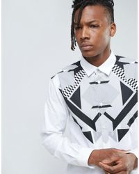 Versace Jeans White Shirt With Chest Print In Slim Fit for men