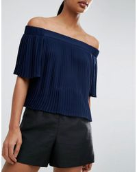 ASOS Blue Pleated Off Shoulder Top