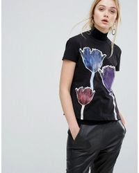 Sportmax Code | Black Adatti Tulip Graphic T-shirt | Lyst