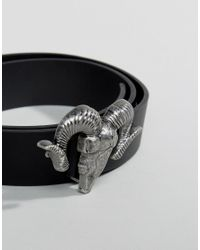 ASOS - Wide Faux Leather Belt With Rams Head Buckle In Black for Men - Lyst