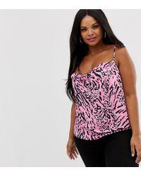 Camisola de satén con cuello desbocado y estampado animal rosa ASOS de color Pink